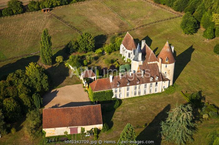 France, Orne, Parc naturel regional du Perche, touristic itinerary of the manors of the Perche region, Corbon, La Vove Manor (aerial view)