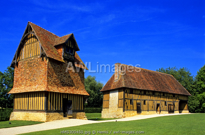 France, Calvados, Crevecoeur, outbuildings of the castle