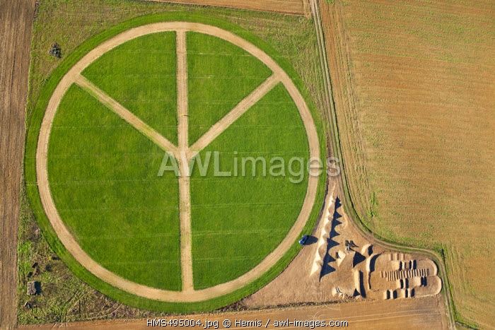 France, Eure, Pays d'Ouche, Rugles, Peace and Love symbol (aerial view)