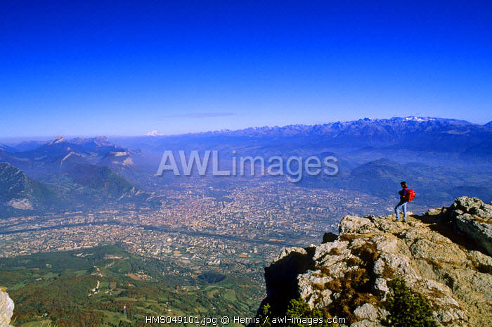 France, Isere, panoramic view over Grenoble from the Moucherotte in the Vercors natural regional park