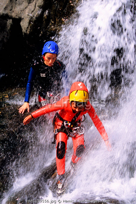 France, Savoie, canyoning in Eaux Rousses river at Bellecombe en Tarantaise