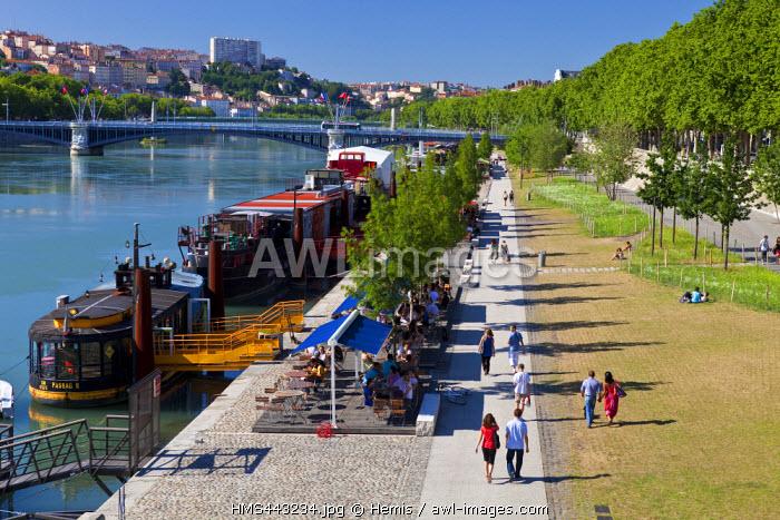 France, Rhone, Lyon, Rhone river banks