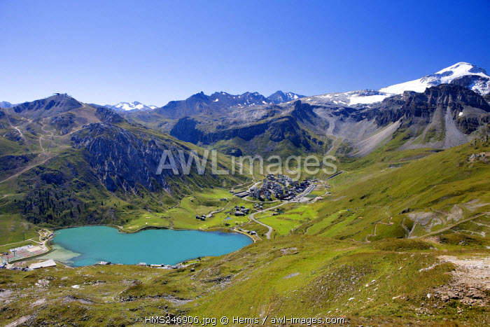 France, Savoie, Tignes 2100, with view on the Grande Motte (3656m)