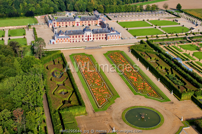 France, Eure, le Neubourg, the castle and the gardens of Champ de Bataille, estate owned by the designer Jacques Garcia (aerial view)