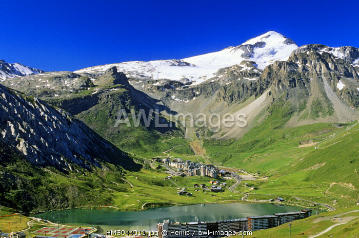France, Savoie, Tignes, lake at the bottom of the Grande Motte