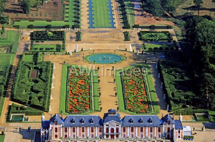 France, Eure, Neubourg, Champ de Bataille castle property of designer Jacques Garcia (aerial view)