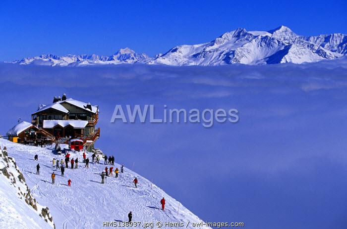 France, Savoie, Meribel Courchevel, Saulire Mountain Summit, Le Panoramic Restaurant