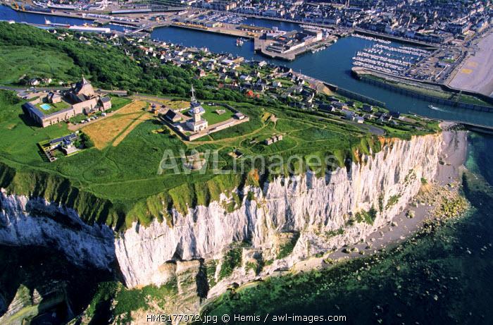 France, Seine Maritime, Pays de Caux, Cote d'Albatre, Fecamp (aerial view)