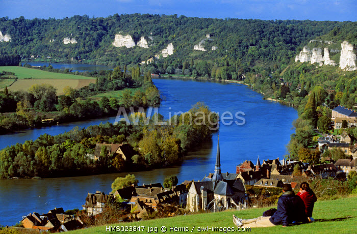 France, Eure, river Seine and Les Andelys village