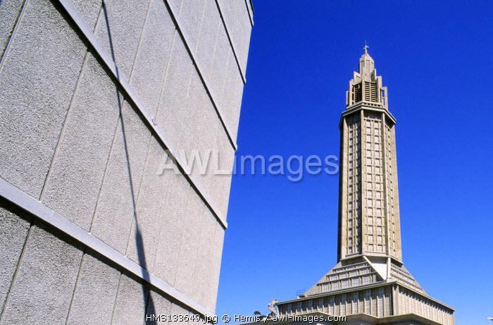 France, Seine Maritime, Le Havre, Tour de Lumiere (bell tower), of Saint Joseph church built by Auguste Perret