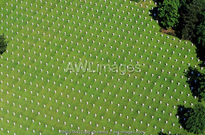 France, Calvados, Colleville sur Mer, the Normandy Landings Beach, Omaha Beach, American Cemetery (Aerial View)