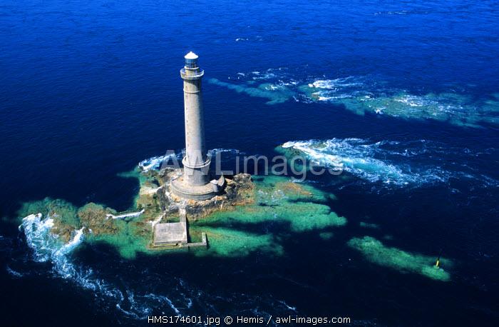 France, Manche, Western coast of Cotentin, Cap de La Hague, off Goury, Gros du Raz lighthouse