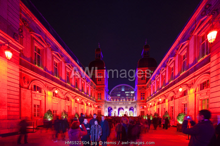 France, Rhone, Lyon, historical site listed as World Heritage by UNESCO, the City Hall and the Opera de Lyon by architect Jean Nouvel during the Fete des Lumieres (Light Festival)