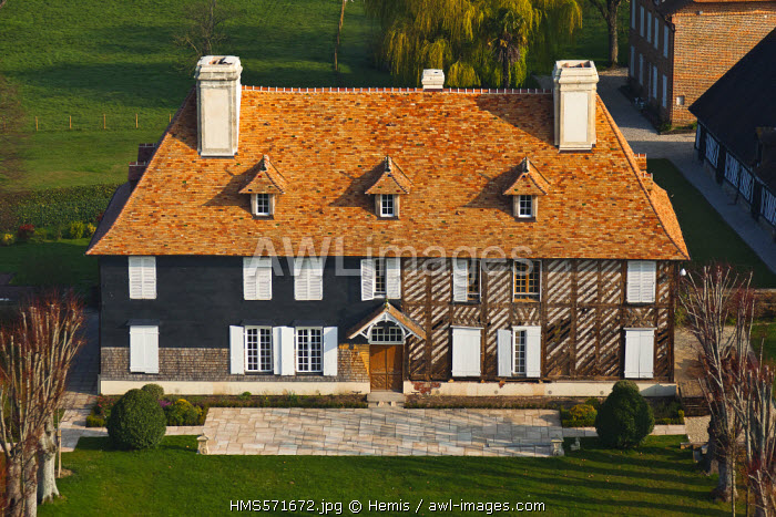 France, Calvados, Putot en Auge, renovation of a traditional norman house (aerial view)