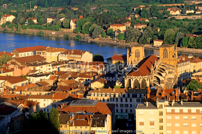 France, Isere, Vienne on the edge of the Rhone river and the cathedral Saint Maurice
