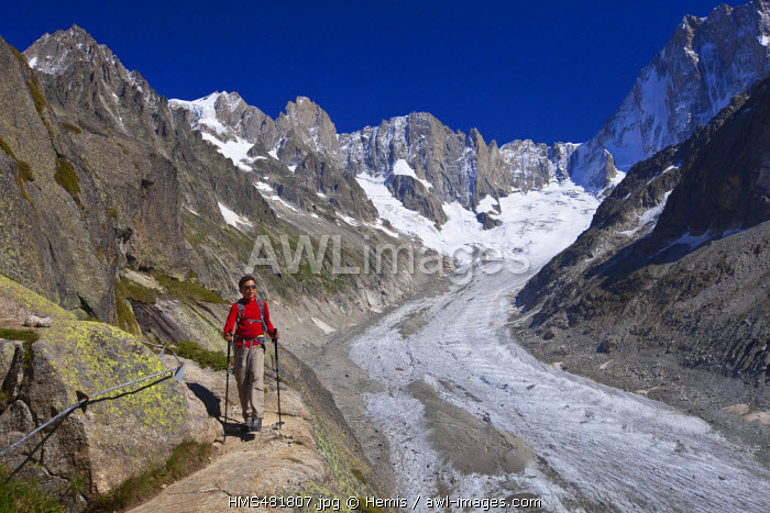 France, Haute Savoie, Chamonix Mont Blanc, the path to reach Couvercle refuge with a view on the glacier of Leschaud and the Petites and Grandes Jorasses