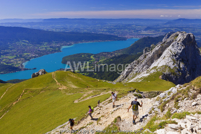 France, Haute Savoie, Annecy, panorama from La Tournette Path, the Chainon de La Tournette separates the Annecy Lake from the Thones Depression