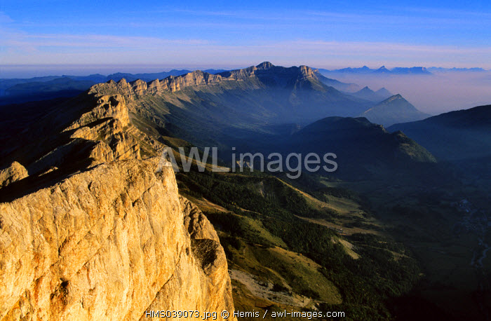 France, Isere, panoramic view from the Grand Veymont (2341 m) in the Vercors Natural Regional Park