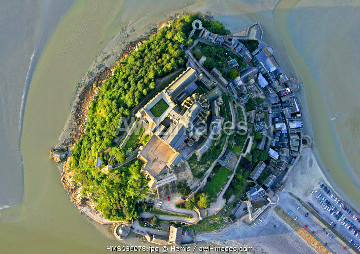 France, Manche, Bay of Mont Saint Michel, listed as World Heritage by UNESCO, Mont Saint Michel upright of the mont (aerial view)