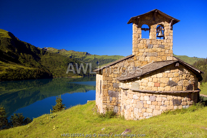 France, Savoie, Beaufortain, chapel and Roselend lake