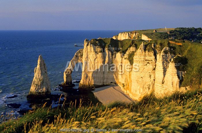 France, Seine Maritime, Pays de Caux, Cote d'Albatre, Etretat, Aiguille Creuse and the cliffs on the Cote d' Alb�tre