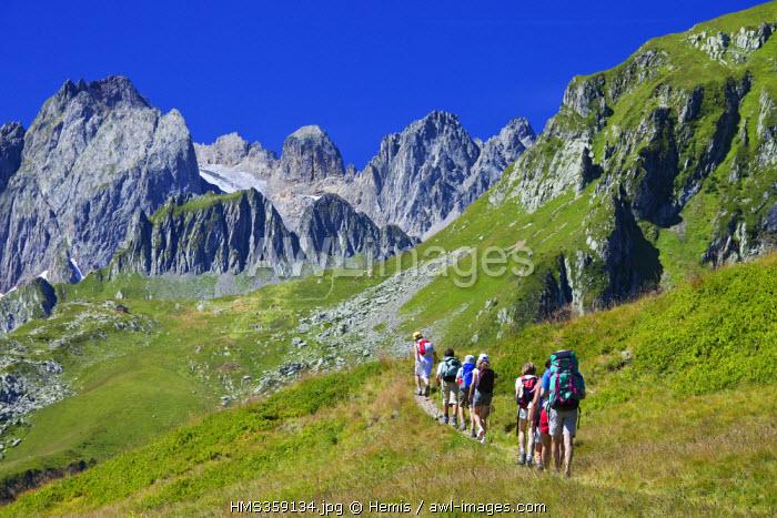 France, Savoie, Celliers, hiking in Chaine de la Lauziere, Massif de la Vanoise overlooking on the Grand Pic de la Lauziere (2829m)