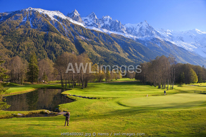 France, Haute Savoie, Chamonix Mont Blanc, the golf with a view on the Aiguilles of Chamonix and on the Mont Blanc (4810m)