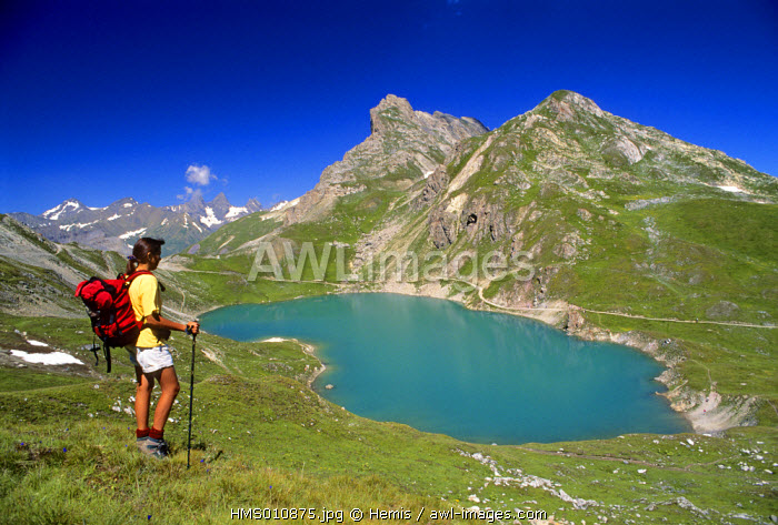 France, Savoie, hike to the Rochilles lake near the Galibier pass