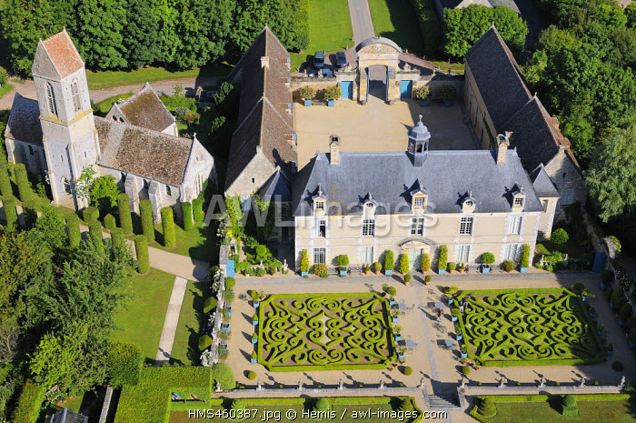 France, Calvados, Saint Gabriel Brecy, the castle and the gardens of Brecy (aerial view)