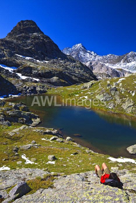 France, Savoie, Meribel, lac du Mont-Coua, Vanoise National Park, view over Mont Coua (3014 m) and aiguille de Peclet (3564 m)