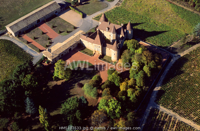 France, Rhone, Pays Beaujolais, Villie Morgon, Chateau de Corcelles (aerial view)