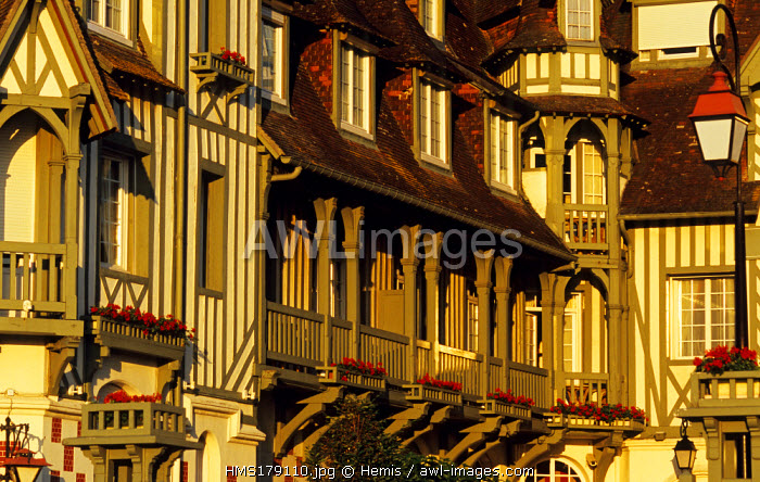France, Calvados, Pays d' Auge, Deauville, half timbered Normandy Hotel facade