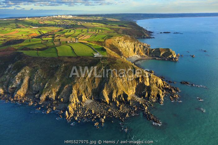 France, Manche, Cotentin, Cap de la Hague, Nez de Jobourg, Jobourg (aerial view)