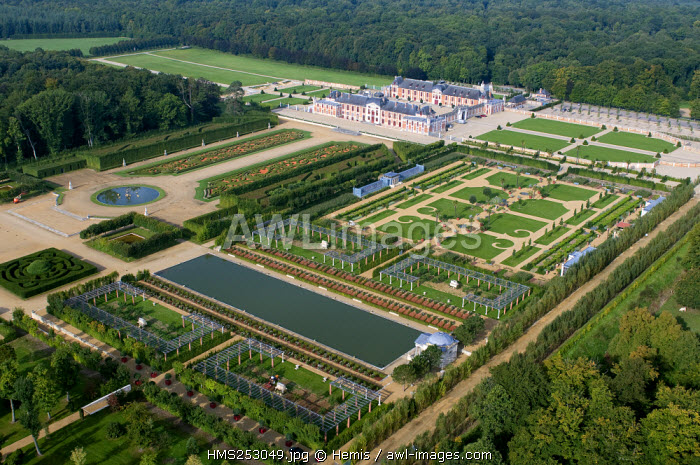 France, Eure, Le Neubourg, the castle and the gardens of Champ de Bataille, properties of the designer Jacques Garcia (aerial view)