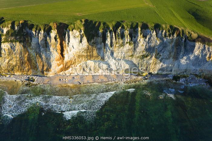 France, Seine-Maritime, Pays de Caux, Cote d'Albatre, cliff between Fecamp and Etretat (aerial view)
