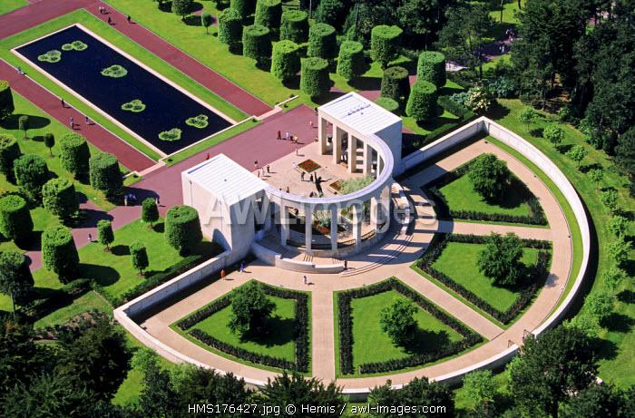 France, Calvados, Colleville sur Mer, the Normandy landings beach, Omaha Beach, American cemetery memorial (aerial view)