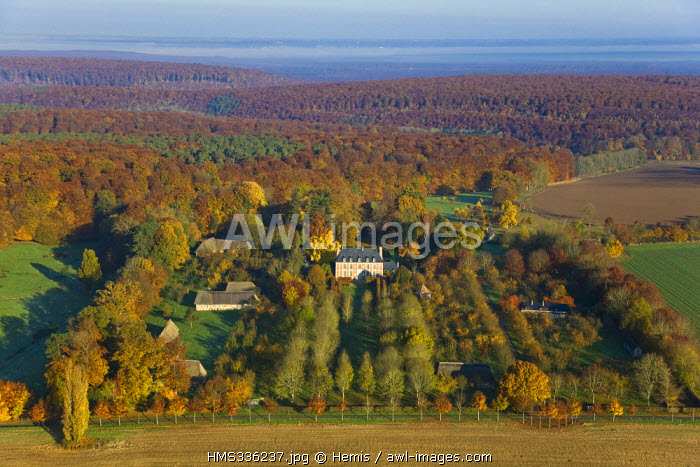 France, Eure, Boucles de la Seine Normande Regional Natural Park, Routot, Chateau de Bonneval (aerial view)