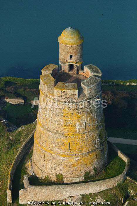 France, Manche, St Vaast La Hougue, La Hougue, his fort Vauban listed as World Heritage by UNESCO (aerial view)