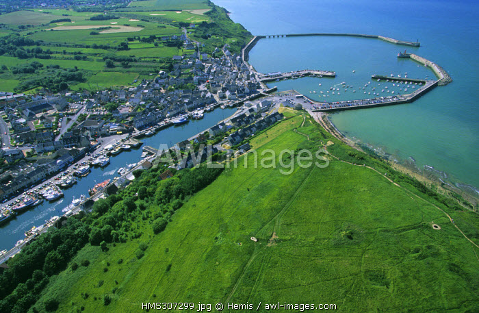 France, Calvados, Port en Bessin (aerial view)