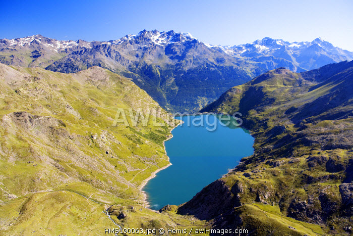 France, Savoie, Maurienne Valley, Bissorte Lake, the Vanoise National Park in the background (aerial view)