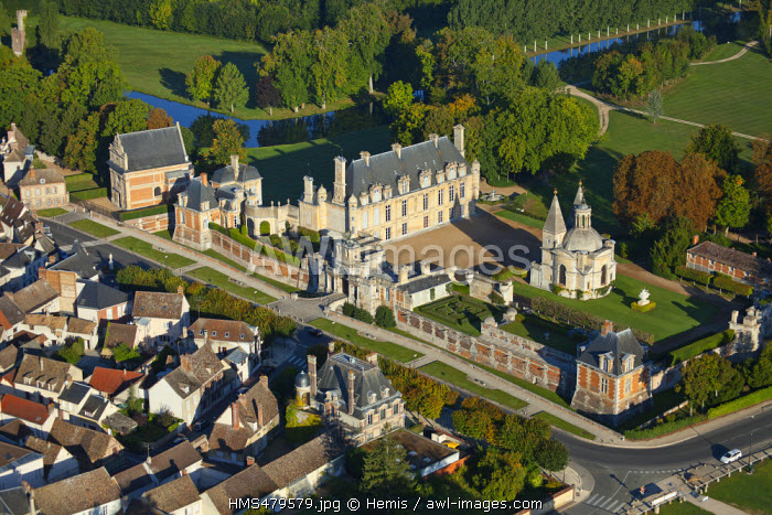 France, Eure et Loir, Chateau d'Anet, 16th century Renaissance castle commissioned by Henry II to Diane de Poitiers (aerial view)