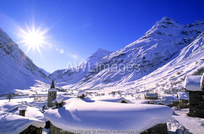France, Savoie, Parc National de la Vanoise (Vanoise National Park), Bonneval sur Arc, labelled Les Plus Beaux Villages de France (The Most Beautiful Villages of France), the highest village of Haute Maurienne (1850 m)