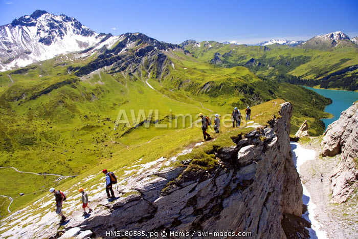 France, Savoie, Beaufortain, descent from the Rocher du Vent (2380 m) and Roselend lake