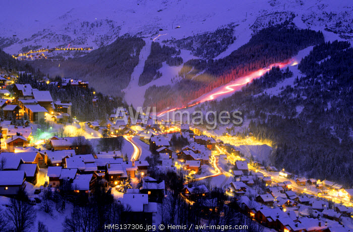 France, Savoie, Meribel ski resort, torch-lit procession