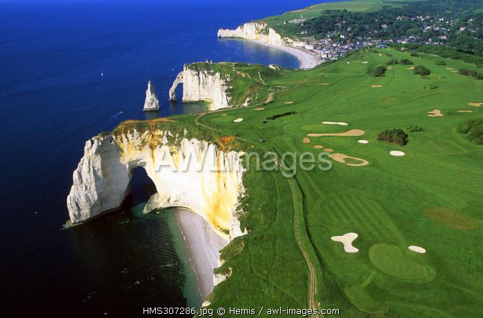 France, Seine Maritime, Pays de Caux, Cote d'Albatre, Etretat, Aval Cliffs and golf course (aerial view)