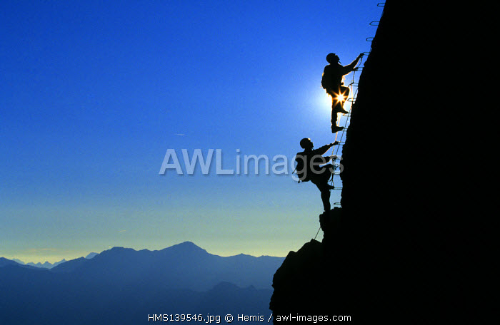 France, Savoie, Meribel Courchevel, Via Ferrata of Dent de Burgin Mountain