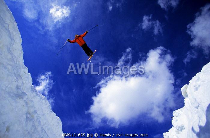 France, Savoie, Skier in Meribel, in the Trois Vallees Skiing Area
