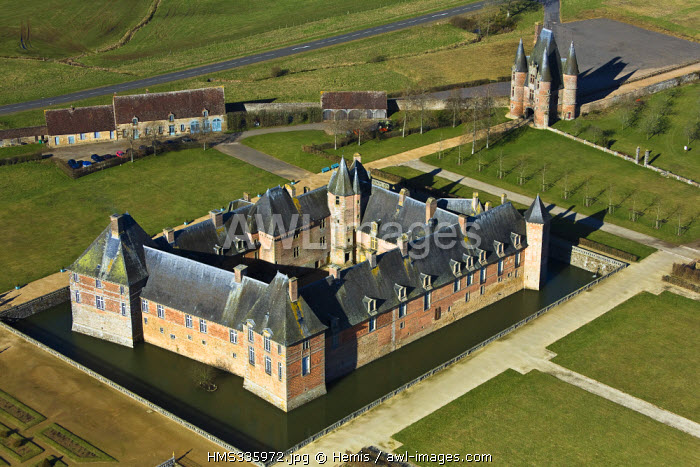 France, Orne, castle of Carrouges, medieval fortress of the 14th century (aerial view)