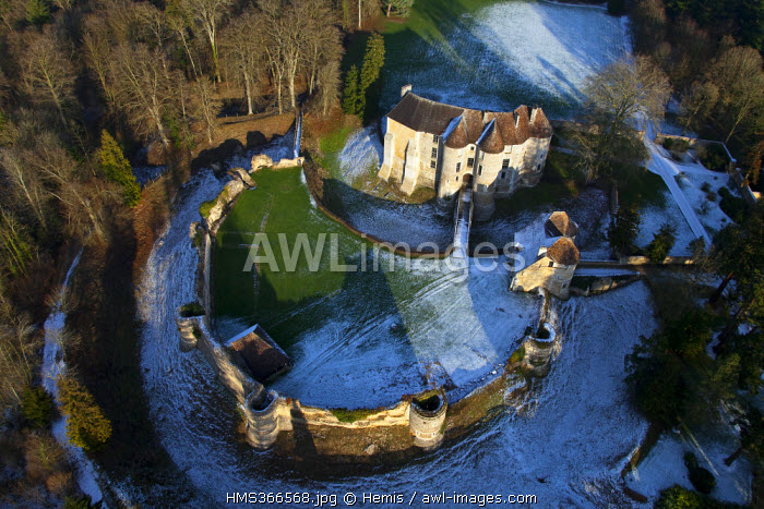 France, Eure, castle d'Harcourt, fortress of the 12th century (aerial view)