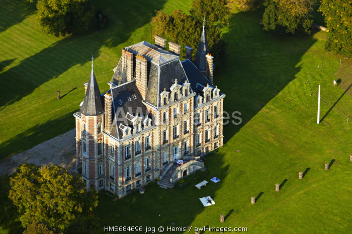 France, Eure, Bosgouet, the castel (aerial view)